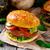 vegetáriánus · hamburger · grillezett · champignon · paradicsom · uborka - stock fotó © vankad