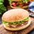 kip · hamburger · geïsoleerd · sesamzaad · voedsel - stockfoto © vankad