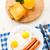 sült · tojások · kolbászok · tányér · narancs · asztal - stock fotó © vankad