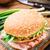 hamburger · krumpli · palacsinta · szalonna · savanyúság · saláta - stock fotó © vankad