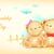 aranyos · medve · integet · mosoly · boldog · háttér - stock fotó © vectomart