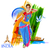 indiano · clássico · dançarina · ilustração · tricolor - foto stock © vectomart
