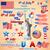 волнистый · американский · флаг · иллюстрация · вечеринка · синий · флаг - Сток-фото © vectomart