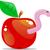 desenho · animado · maçã · verme · mão · projeto · louco - foto stock © vectorarta
