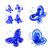set of decorative ornament blue butterflies stock photo © vectorflover