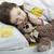 kislány · alszik · ágy · plüssmaci · szépség · jókedv - stock fotó © velkol