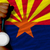 silver medal for sport and flag of american state of arizona stock photo © vepar5