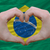 Heart and love gesture showed by hands over flag of brazil backg stock photo © vepar5