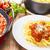 espaguetis · pasta · carne · salsa · servido · pan - foto stock © vertmedia