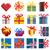 Set of vector simple pixel presents box. stock photo © Vertyr