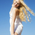 posando · mulher · vestido · branco · ouro · festa · feliz - foto stock © vetdoctor