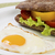 Breakfast sandwich with vegetables and baked egg stock photo © vetdoctor