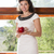 woman on sill smile and hold apple stock photo © vetdoctor