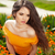 csinos · fiatal · lány · fű · virágok · portré · hosszú · hajú - stock fotó © victoria_andreas