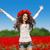 atlama · kız · kıvırcık · saçlı · güzel · yalınayak · üzerinde - stok fotoğraf © victoria_andreas