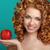młodych · szczęśliwy · uśmiechnięty · piękna · kobieta · jabłko · kręcone · włosy - zdjęcia stock © victoria_andreas