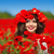 beautiful happy smiling teen girl portrait with red flowers on h stock photo © victoria_andreas