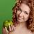 boldog · nő · zöld · alma · szőke · nő · gyönyörű - stock fotó © victoria_andreas