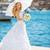beautiful bride in wedding dress with white umbrella outdoors p stock photo © victoria_andreas