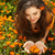 beauty woman portrait with flowers free happy brunette enjoying stock photo © victoria_andreas