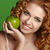 young happy smiling beautiful woman with apple curly hair stock photo © victoria_andreas