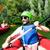 homem · rio · masculino · vermelho · inflável · canoa - foto stock © vilevi