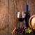 glas · rode · wijn · fles · vat · druiven · houten - stockfoto © viperfzk