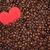 grains · de · café · rouge · papier · coeur · fond - photo stock © viperfzk