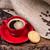tasse · de · café · biscuit · textiles · sombre · table · en · bois · bois - photo stock © viperfzk