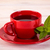 piros · csésze · tea · zöld · levelek · fa · asztal · kávé - stock fotó © viperfzk