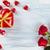 día · de · san · valentín · rosas · rojas · chocolate · tarjeta · de · felicitación · corazón · cuadro - foto stock © vitalina_rybakova