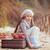 Kind · legen · Äpfel · Herbst · Park - stock foto © vitalina_rybakova