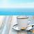 csésze · kávéscsésze · kávé · fa · asztal · kék · tenger - stock fotó © Vitalina_Rybakova