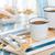 reggel · kávé · kék · csésze · fa · asztal · tenger - stock fotó © Vitalina_Rybakova