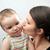 matka · dziecko · biały · szary · portret · szczęśliwy - zdjęcia stock © vkraskouski