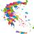 Görögország · térkép · adminisztratív · fővárosok · háttér · sziluett - stock fotó © Volina