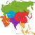 Ásia · mapa · colorido · seis · regiões · computador - foto stock © Volina
