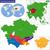 地図 · カザフスタン · 政治的 · いくつかの · 地域 · 抽象的な - ストックフォト © volina
