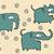 hand drawn grunge illustration set of cute elephants stock photo © vook