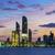 kilátás · Abu · Dhabi · sziluett · naplemente · Egyesült · Arab · Emírségek · üzlet - stock fotó © vwalakte