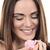 rire · fille · rose · joli · cheveux · noirs · femme - photo stock © vwalakte