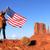 szczęśliwy · patriotyczny · kobieta · banderą · patrząc - zdjęcia stock © vwalakte