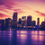 view of miami at sunset special photographic processing stock photo © vwalakte