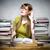 túlhajszolt · női · diák · asztal · nő · iroda - stock fotó © w20er