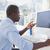 centrado · empresario · de · trabajo · escritorio · vídeo · chat - foto stock © wavebreak_media