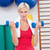 blonde woman lifting dumbbells on exercise ball stock photo © wavebreak_media