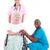 doktorlar · hasta · tekerlek · sandalye · gülen · kamera - stok fotoğraf © wavebreak_media