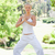 relaxed young woman doing yoga exercises in the park stock photo © wavebreak_media