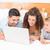 mutlu · aile · dizüstü · bilgisayar · kullanıyorsanız · birlikte · yatak · ev · yatak · odası - stok fotoğraf © wavebreak_media