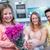 lánygyermek · meglepő · anya · virágok · otthon · nappali - stock fotó © wavebreak_media